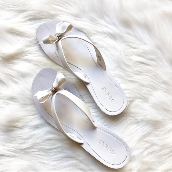White Bow Embellished Flip Flops By